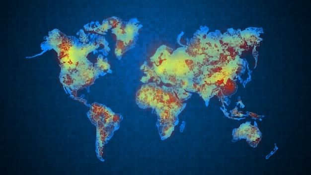 照明とキラキラ効果のある未来的なコンセプトのために、フラクタルノイズの背景を持つグリッドに対してドットの世界地図