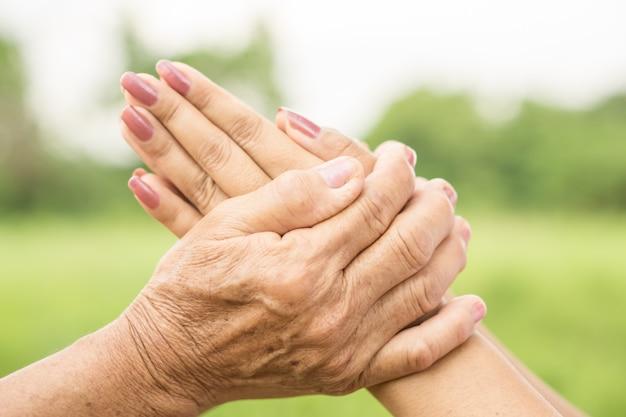 お互いを愛し合っている両手、アジアの娘の尊敬の母