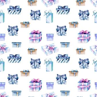 Бесшовные шаблон с акварель синий подарочные коробки, ручная роспись на белом фоне