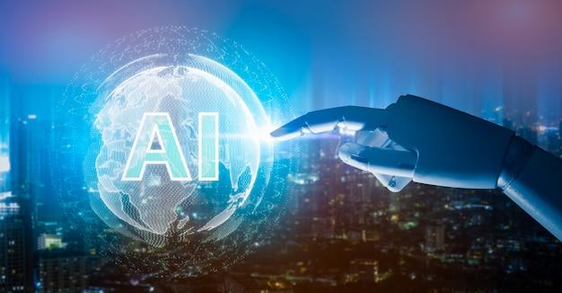 人工知能、ロボットの指、ロボアドバイザー、ビッグデータ、ロボットの未来の技術とビジネス。