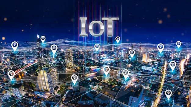 モノのインターネットの概念を示すグラフィックを備えた未来都市。
