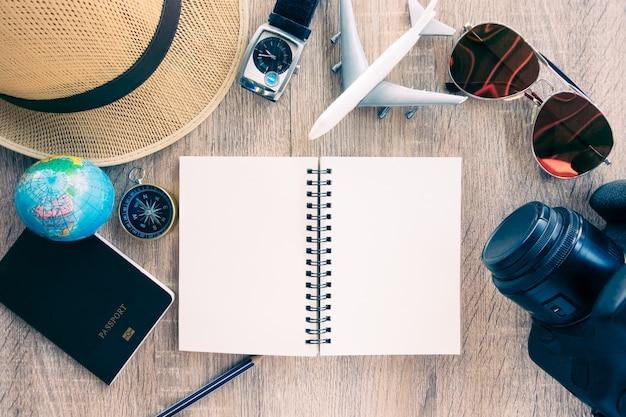 旅行計画、旅行休暇、観光モックアップ
