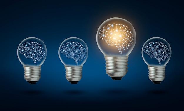 Различные идеи лампочек многие лампочки расположены в ряд, и одна из них освещена. идея концепции