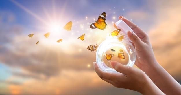 Девушка освобождает бабочку от баночки, золотисто-голубой момент концепция свободы