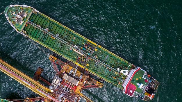 船のタンカー、空撮液化石油ガス