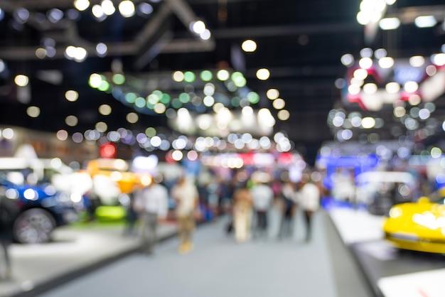 ぼやけた公開イベント展示ホール。ビジネス見本市または商業活動の概念