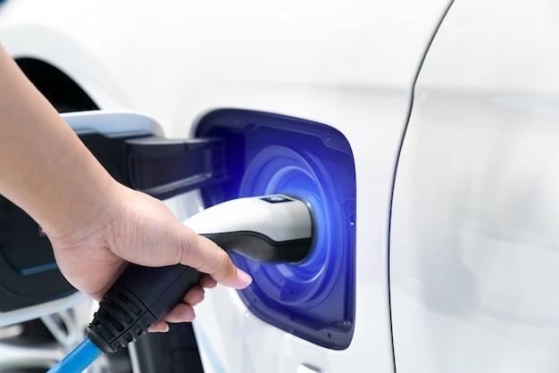 充電器のプラグを車の電化に接続します。
