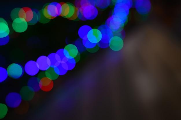 カラフルなライトの背景のボケ味