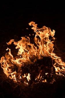 黒の背景に火の炎