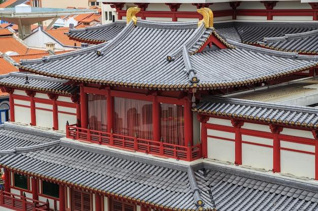 中国の町、シンガポールの仏教寺院遺跡の屋根
