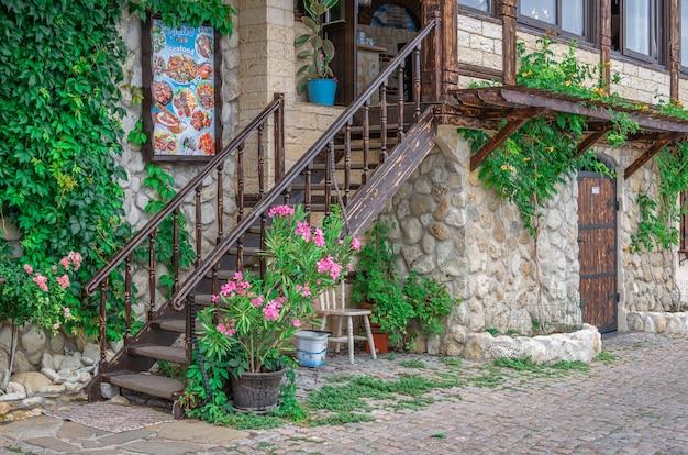 ブルガリア、ネセバルの海辺のレストラン