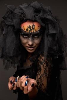 Страшные хэллоуин невесты с концепцией страшный макияж