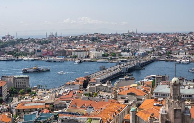 Вид сверху на город стамбул и мост галата в турции