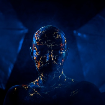 ネオン紫外線溶岩で描かれた男の顔