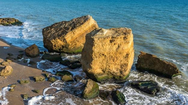 海沿いのいくつかの巨大な石灰岩
