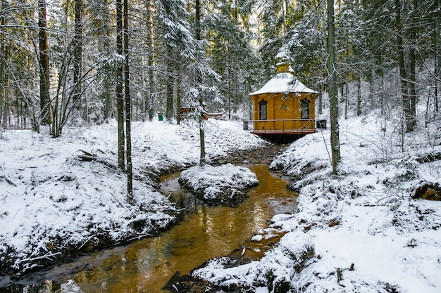 小さな川のある冬景色