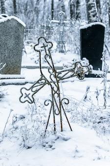 放棄された村の古い墓地