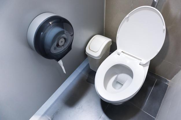 Унитаз в современной ванной комнате с мусорными ведрами и туалетной бумагой, унитаз чистой ванной