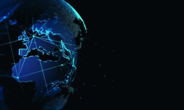 Кибер мир сети фон. глобальный бизнес технологии