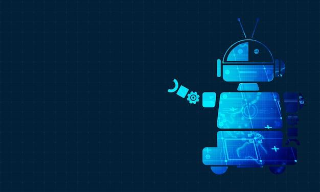 Робот технологии фон концепции