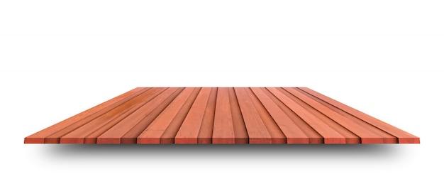 Пустой верхней части деревянный стол или счетчик изолированы. для отображения продукта или дизайна