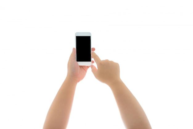 手持ち株と分離された空白の画面を持つスマートフォンに触れる