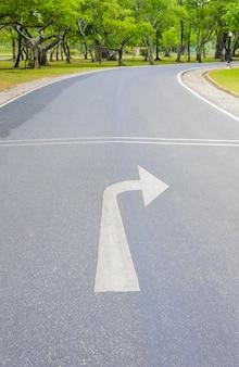 右矢印と新緑の曲線道路