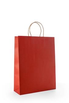 分離された赤い紙のショッピングバッグ
