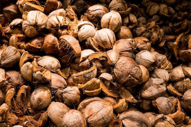ココナッツの皮の茶色の乾いた殻。