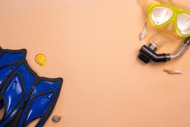 Взгляд сверху шноркеля и флиппера на предпосылке цвета.