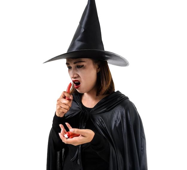 女、黒、怖い、魔女、ハロウィン、衣装、立っている、帽子、白