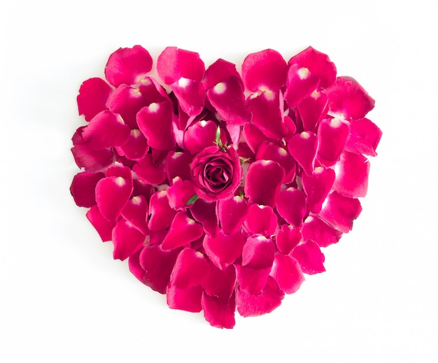 Красивое сердце из розовых лепестков роз
