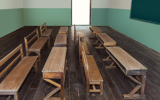 空の木の机の行が付いている学校のアンティーク教室