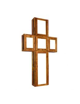白い背景で隔離の木製の十字架