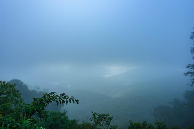 朝の山脈と霧の海の景色