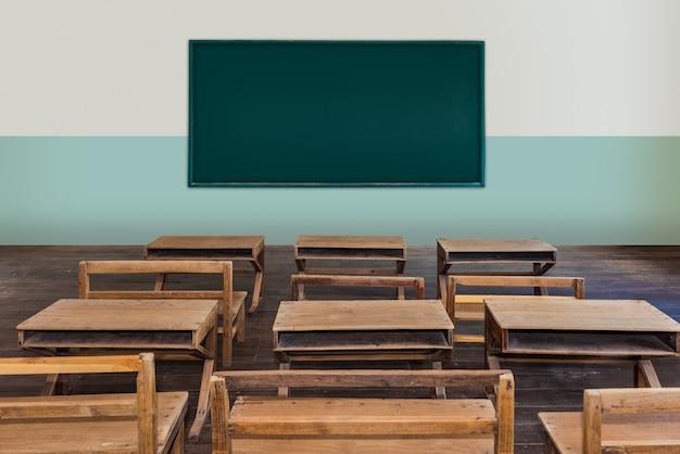空の木の机の行を持つ学校でアンティーク教室