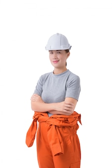 Портрет работницы в механических комбинезонах, изолированных на белом