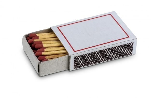 白で隔離されるマッチの箱