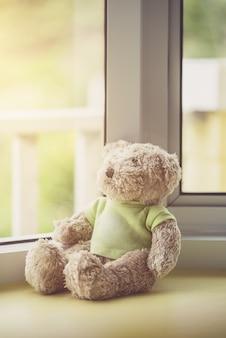 窓の近くの孤独なテディベア