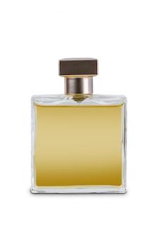 分離された美しい透明ボトルで女性の香水