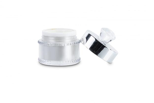Пустая упаковка прозрачной стеклянной банки косметического крема с крышкой
