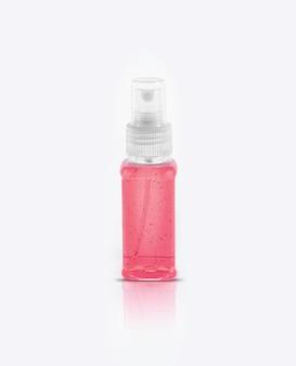 Прозрачное дезинфицирующее средство для рук в прозрачной бутылке с насосом на белом фоне