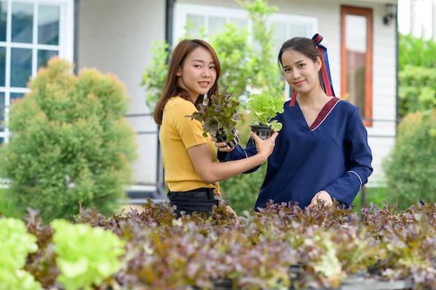 Молодые женщины собирают овощи в домашних условиях
