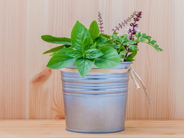 白い木製の背景に金属製の鍋の新鮮なハーブ。
