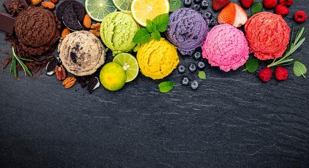 Разнообразные шарики со вкусом мороженого