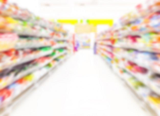 スーパーマーケットの背景をぼかした