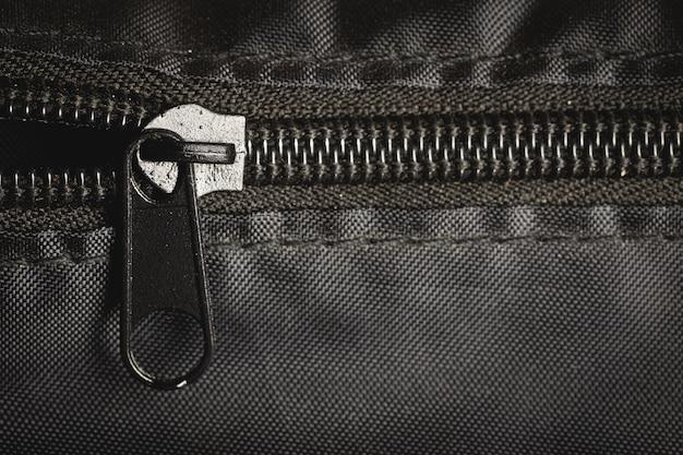 黒い袋のクローズアップジッパー