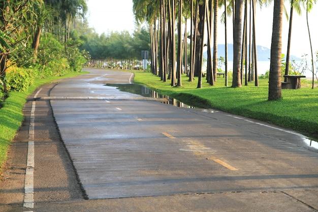 海のビーチの近くのぬれた道