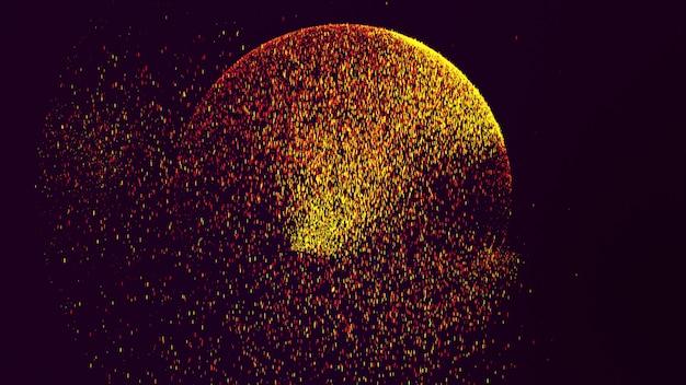 黒い背景には、黄色いオレンジ色の小さな塵の粒子があり、円を描くように輝いています。