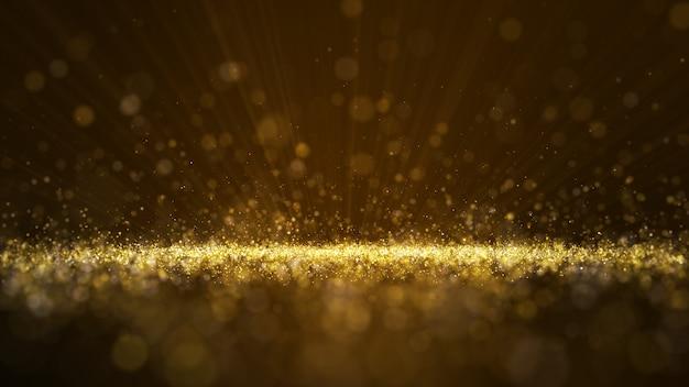 濃い茶色の背景、粒子、きらめく波、カーテン、深みのあるエリアのデジタル署名。粒子は金色の光の線です。